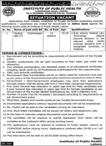 Institute of Public Health Jobs 2020 for Medical Technologist
