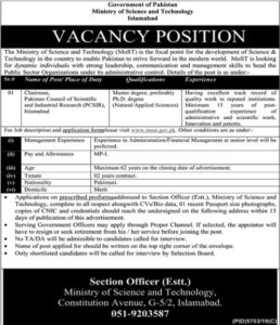 Ministry of Science Technology Islamabad Jobs 2020   Chairman Career
