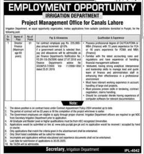 Irrigation Department Jobs in Lahore 2020 for Director Finance
