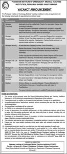 Peshawar Institute of Cardiology Jobs 2020, Manager Pharmacy, Manager Physiotherapy