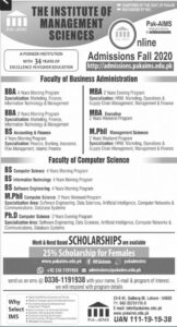Admissions 2020 at Institute of Management Sciences, BBA, MBA, BA, M.Phil