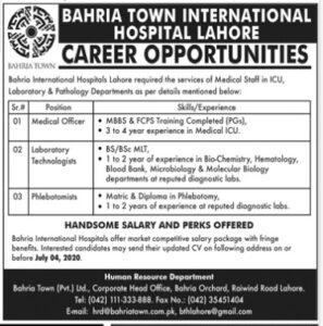 Bahria Town International Hospital Lahore New Jobs 2020 for Medical Officer