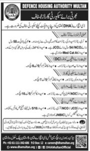 DHA Defence Housing Authority Multan Jobs 2020 for Security Staffing