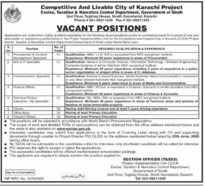 Excise Taxation and Narcotics Control Department Jobs 2020  Narcotics Sindh