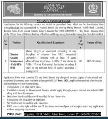 Pakistan Institute Of Fashion Design Jobs 2020 Pifd Lahore