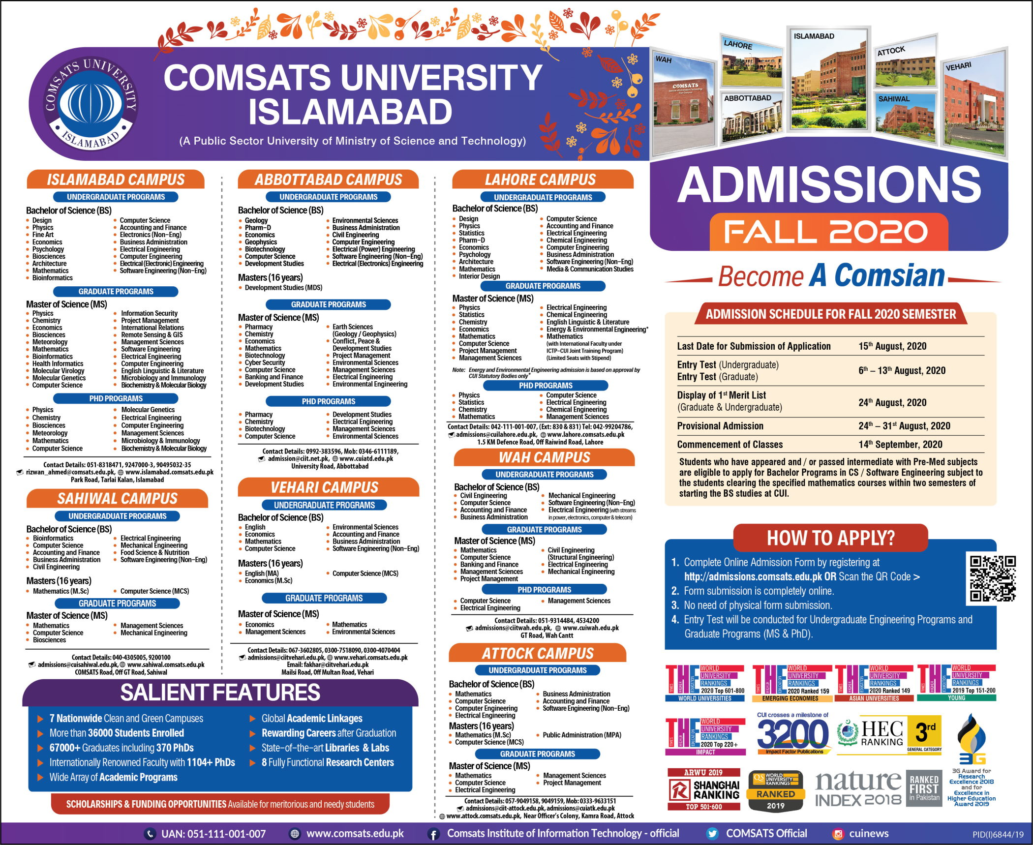 Admissions Comsats University Lahore Campus UG & PG 2020
