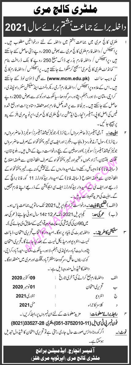 Admissions Military College Murree in 8th Class 2021