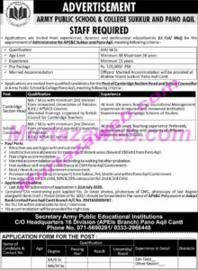Army Public School and College Jobs 2020 at Sukkur and Pano Aqil
