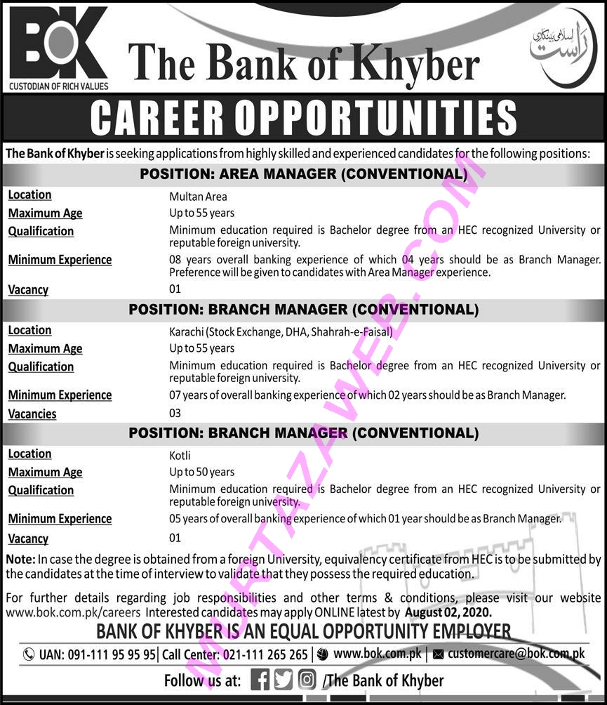 Bank of Khyber BOK Area Manager, Branch Manager Jobs 2020