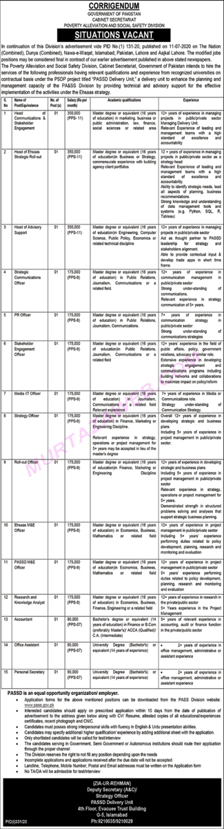 Cabinet Secretariat Poverty Alleviation And Social Safety Division Head Of Communication Jobs 2020