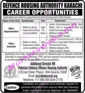 Defence Housing Authority (DHA) Karachi Office Assistant Jobs 2020