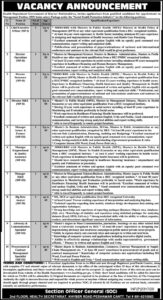 Health Department Government of Khyber Pakhtunkhwa Latest Management Jobs 2020