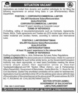 Law And Parliamentary Affairs Department Baluchistan New Jobs 2020