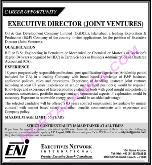Oil & Gas Development Company Limited OGDCL Executive Director Jobs 2020.