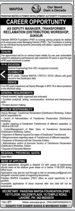 Pakistan Water And Power Development Authority Latest Deputy Manager Jobs 2020