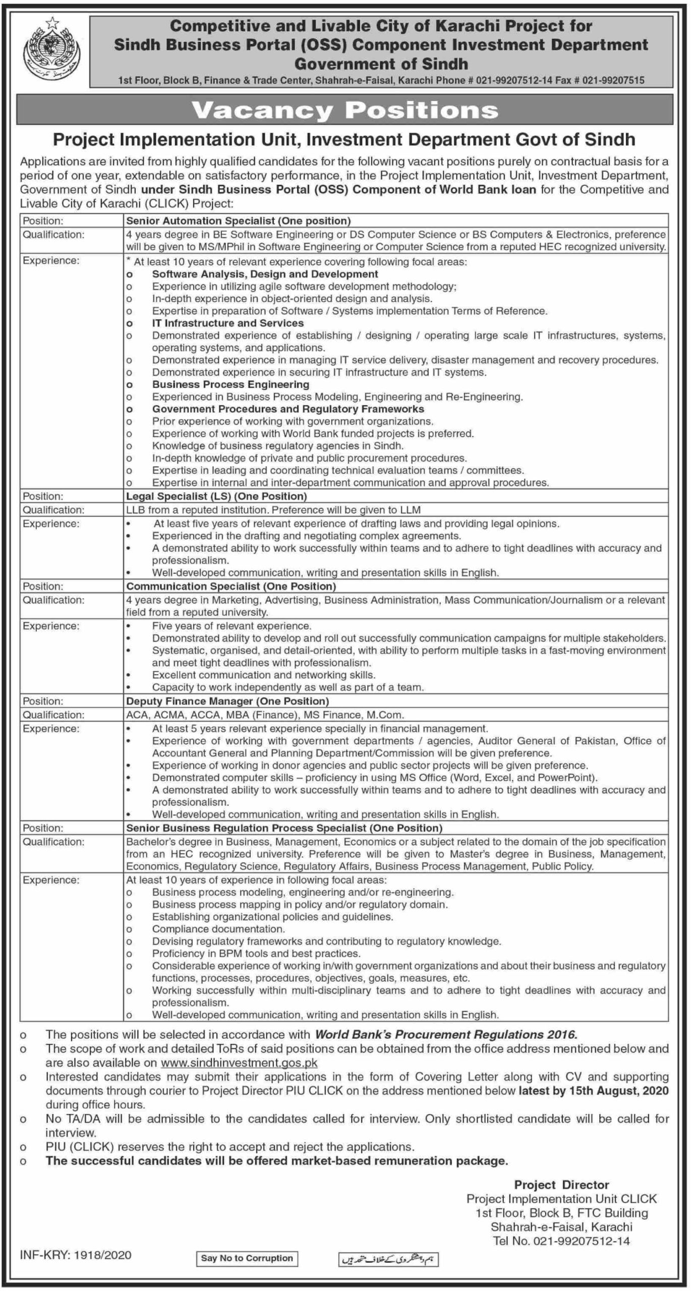 Project Implementation Unit Investment Department Govt Of Sindh Latest Administration Jobs 2020