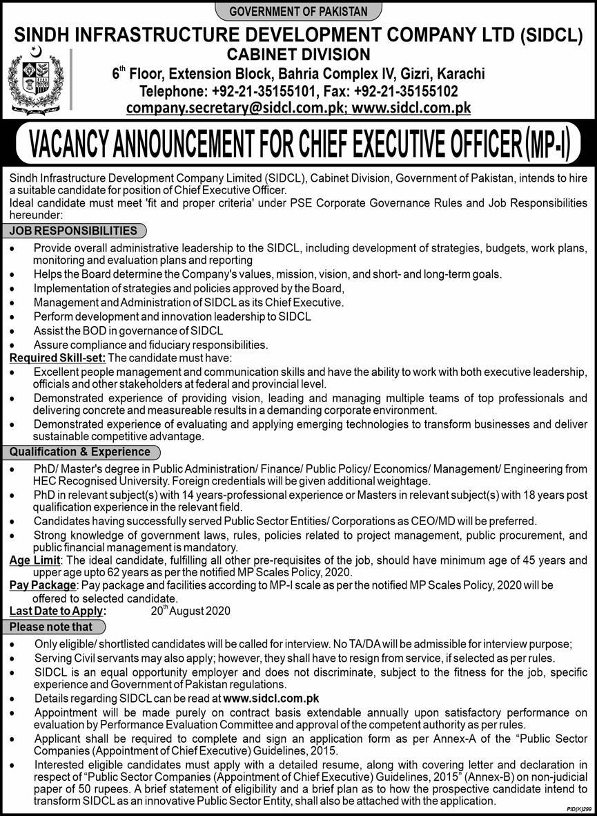 Sindh Infrastructure Development Company Limited Sidcl Cabinet Division Latest Admin Jobs 2020