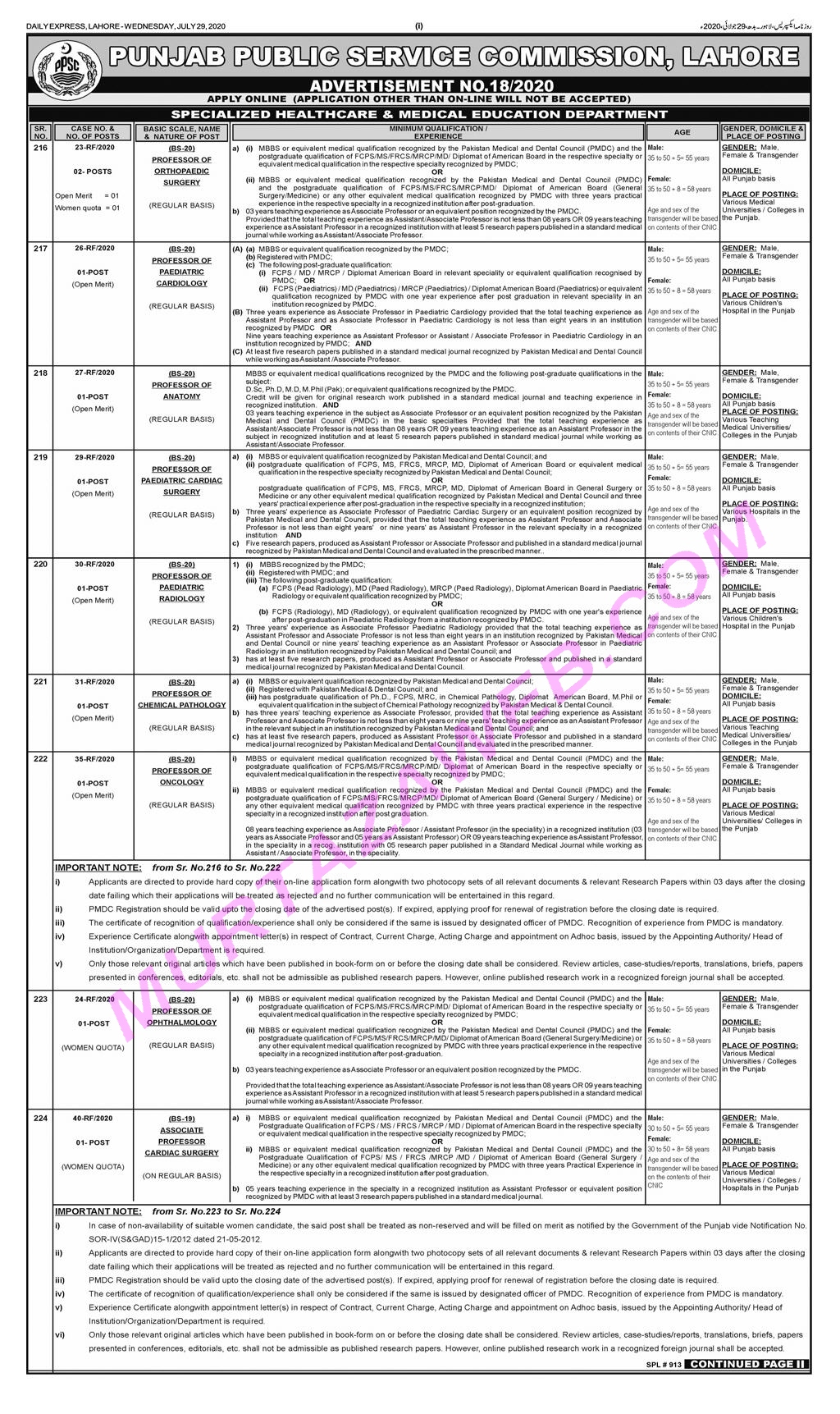 Specialized Healthcare & Medical Education Department PPSC Medical Jobs 2020