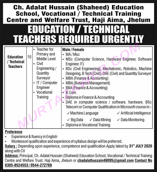 Technical Education And Vocational Training Authority Tevta Teaching Jobs 2020