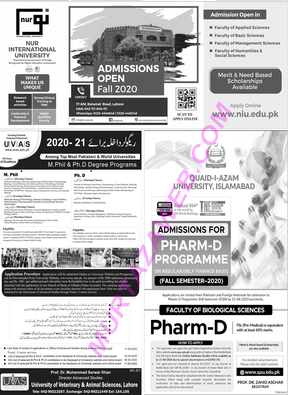 UVAS Admissions 2020 Last Date to Apply Online and Fee Details, Pharm-D
