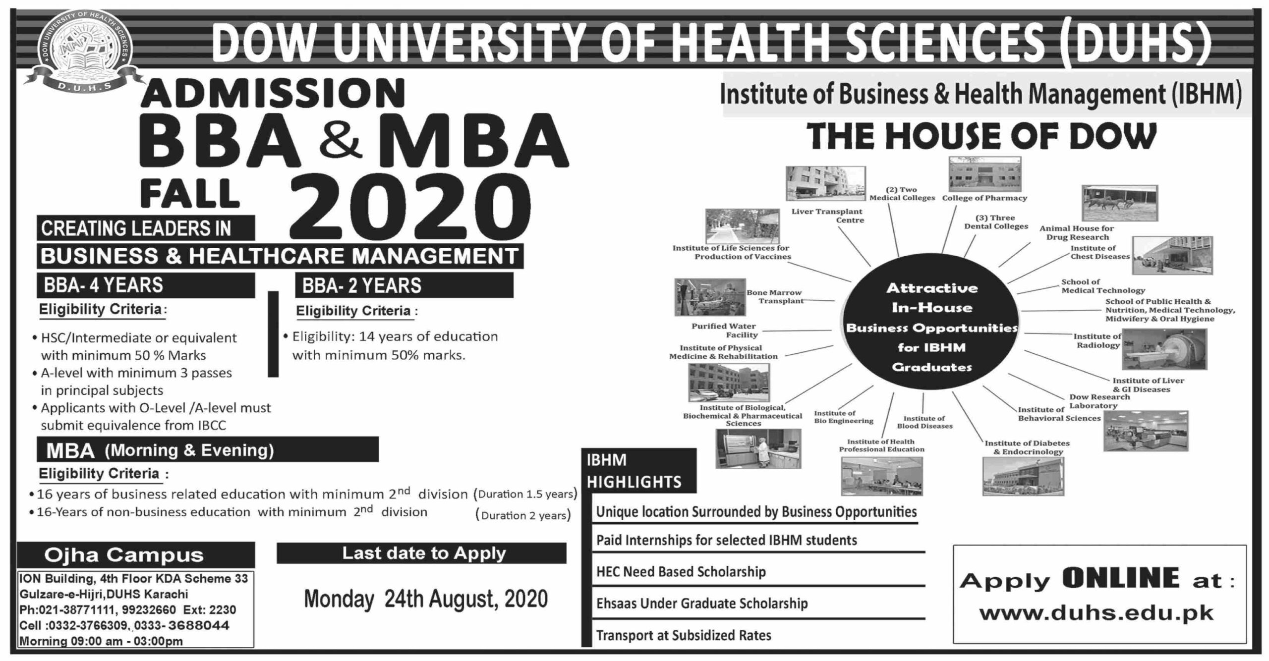 Admissions BBA-MBA 2020 at Dow University of Health Sciences DUHS Karachi