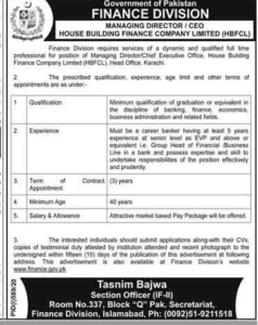 Finance Department Managing Director Latest Jobs 2020