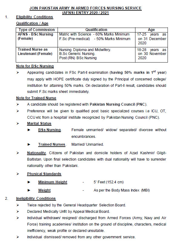 Join Pak Army as AFNS 2020-21 Armed Forces Nursing Service, Online Apply1