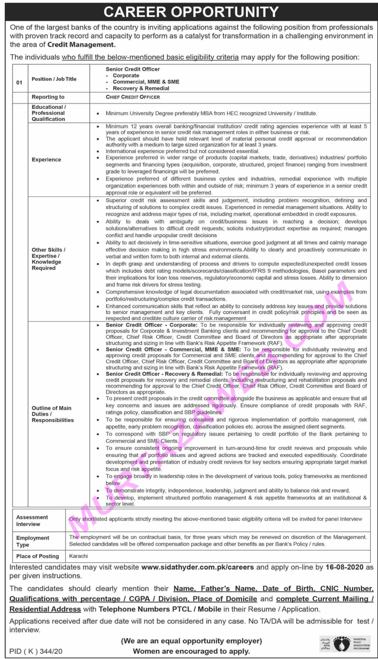 Largest Banks of the Country Senior Credit Officer Jobs 2020 Murtazaweb.com