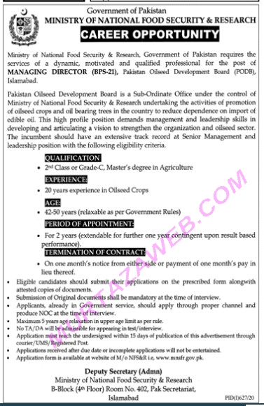 Ministry Of National Food Security and Research Managing Director Jobs 2020