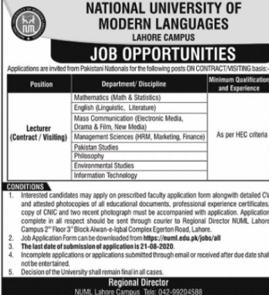 National University Of Modern Languages Lecturer Latest New Jobs 2020