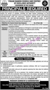 Punjab Daanish School And Centers Of Excellence Authority New Principal Jobs 2020