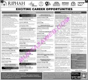 Riphah International University Jobs 2020, Management Positions Murtazaweb.com