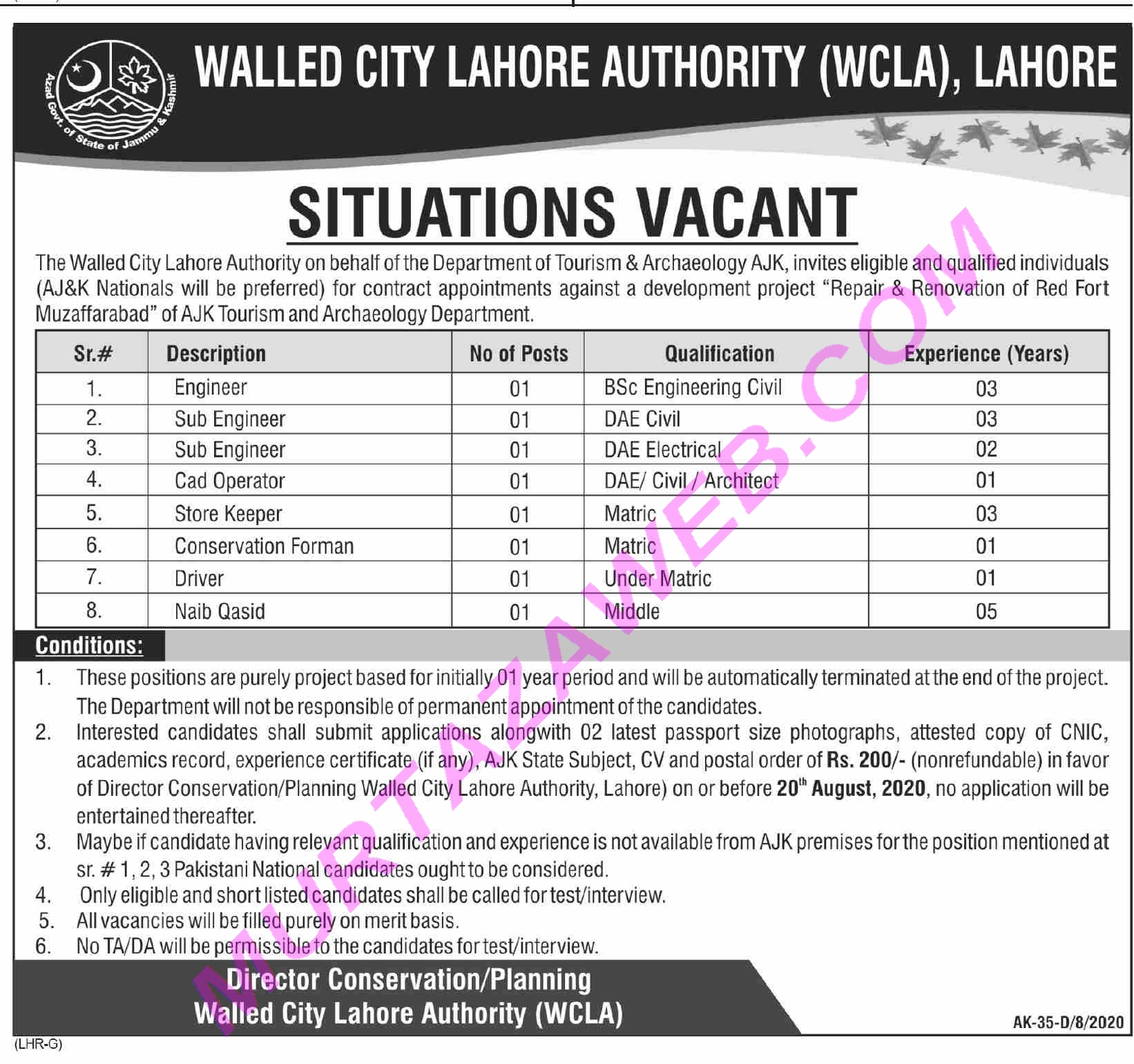 Walled City Of Lahore Authority Sub Engineer Jobs 2020 in Pakistan