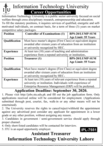 Information Technology University Controller Of Examinations New Jobs 2020