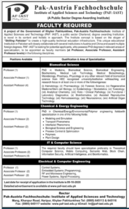 Pak Austria Fachhochschule Institute Of Applied Sciences And Technology Latest Teaching Jobs 2020