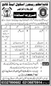 Quaid E Azam Rangers School And College Karachi Latest Teaching Jobs 2020