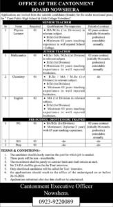 Cantt Public High School And Girls College Nowshera Latest Teaching Jobs 2020