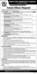 Competition Commission Of Pakistan Ccp NTS Islamabad Trainee Officer Jobs 2020