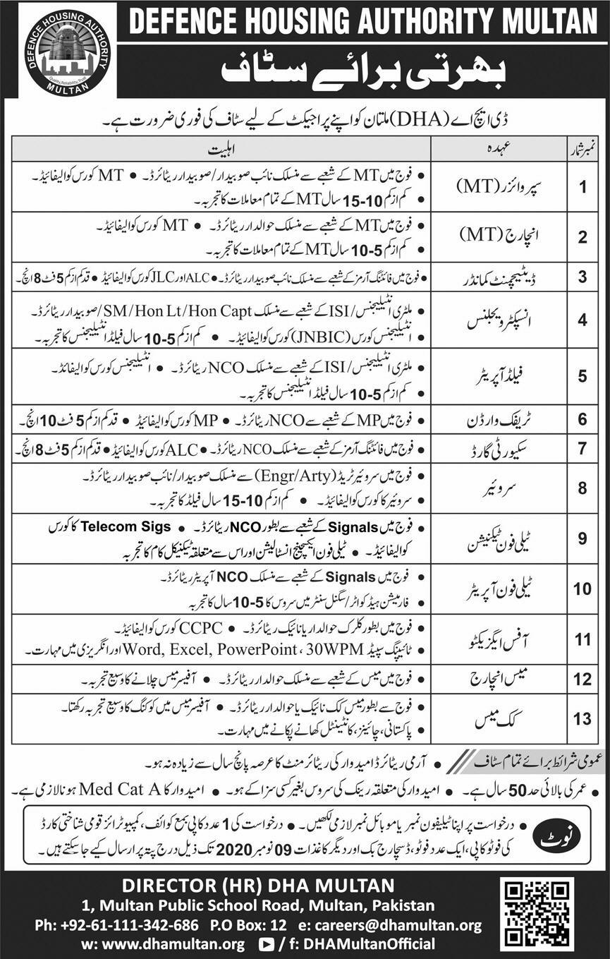 Defence Housing Authority Dha Multan Administrative New Latest Jobs 2020