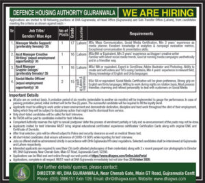 Defence Housing Authority Gujranwala Social Media Officer Latest Jobs 2020