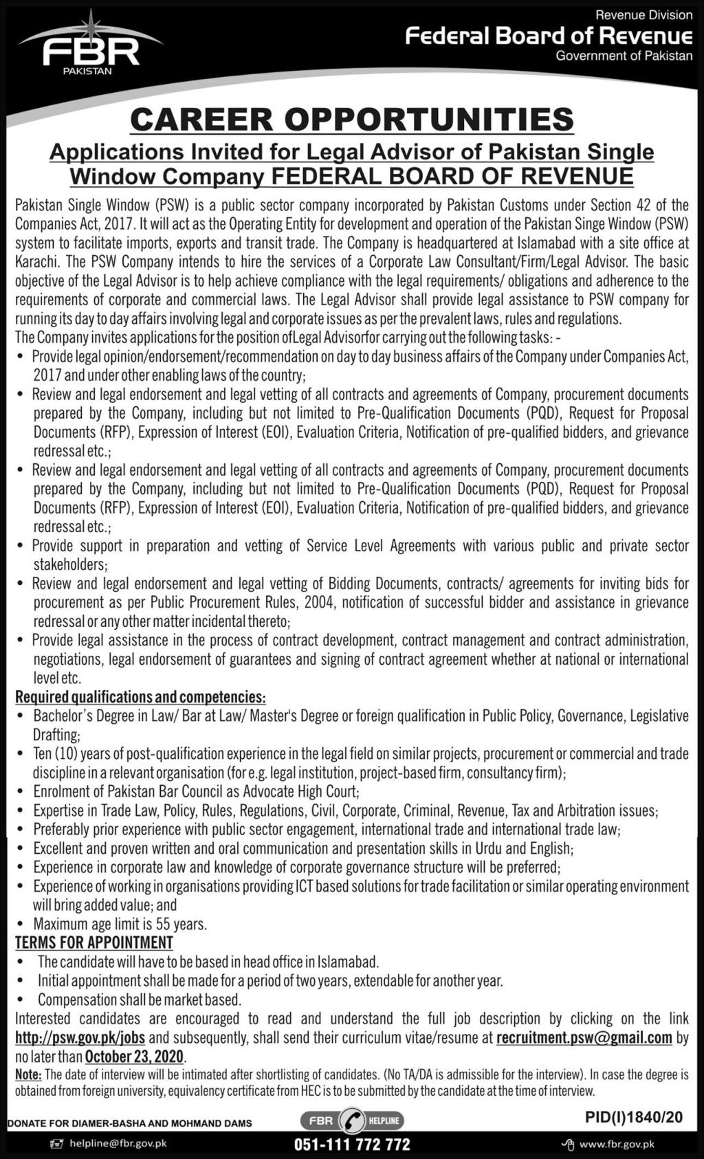 Federal Board Of Revenue Government Of Pakistan Islamabad Legal Advisor New Jobs 2020