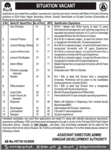 Gda Public Higher Secondary School Gwadar Balochistan Latest Lecturer Jobs 2020