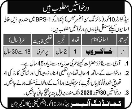 Headquarter 10 Corps Rising Sun Officers Mess Chaklala Latest Jobs 2020