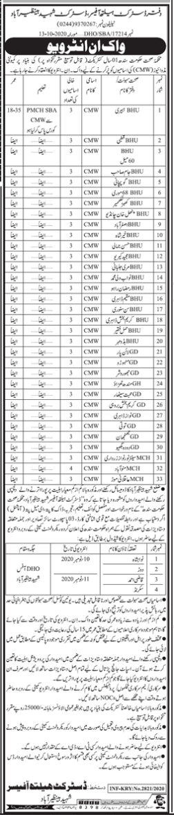 Health Department Office Of The District Health Officer District Shaheed Benazirabad Latest Jobs 2020