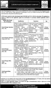 Lahore Waste Management Company Lwmc General Manager Latest Jobs 2020