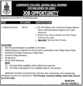 Lawrence College Ghora Gali Murree Technical Latest Jobs 2020