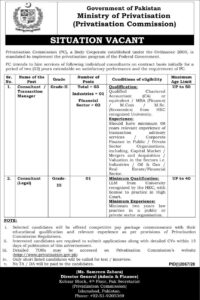 Ministry Of Privatization Commission Islamabad Administration Latest Jobs 2020
