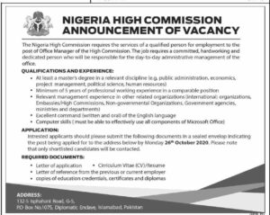 Nigeria High Commission Nhc Islamabad Latest Management Jobs 2020