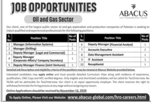 Oil And Gas Sector Abacus Management Jobs 2020, Murtazaweb.com