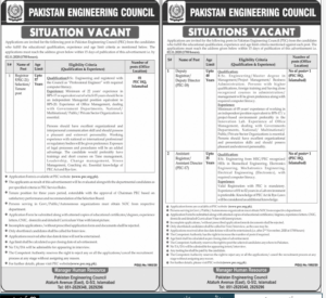 Pakistan Engineering Council Pec Islamabad Administrative Latest Jobs 2020